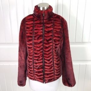 1 Madison Wine Faux Fur Zip Up size small